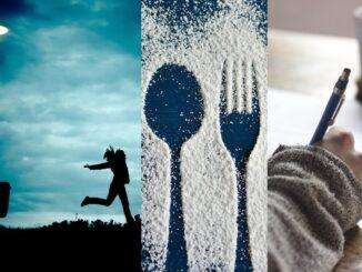 Tři obrázky v jednom - žena která běhá, vidlička a lžička a ruka která píše.