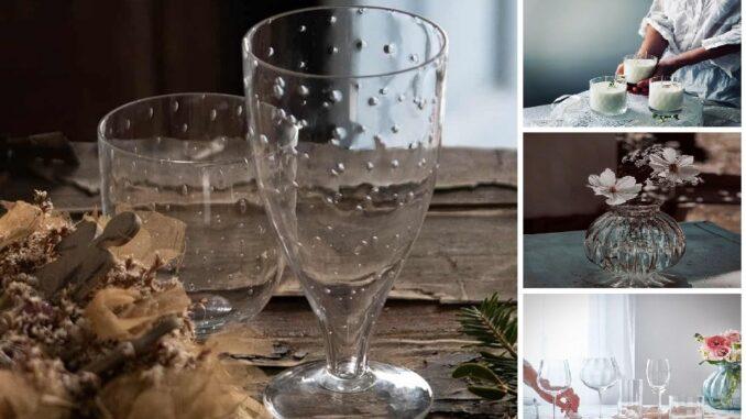 Koláž: sklenice, svíčky ve skle, váza.
