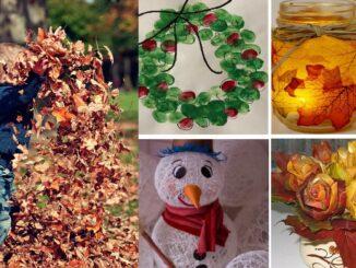 Dítě si hraje s listím, koláž podzimních dekorací.
