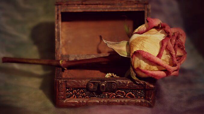 Suchá růže na dřevěné truhliččce