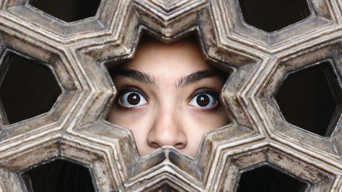 Dívka za gotickým oknem - vidět je jen oči a nos.