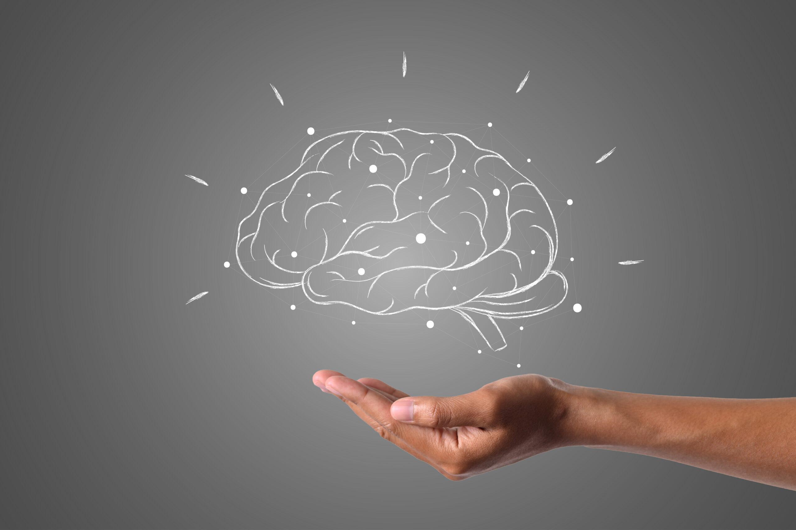 Nakreslený mozek nad dlaní