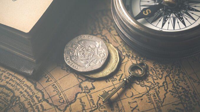 Stará mapa a kompas