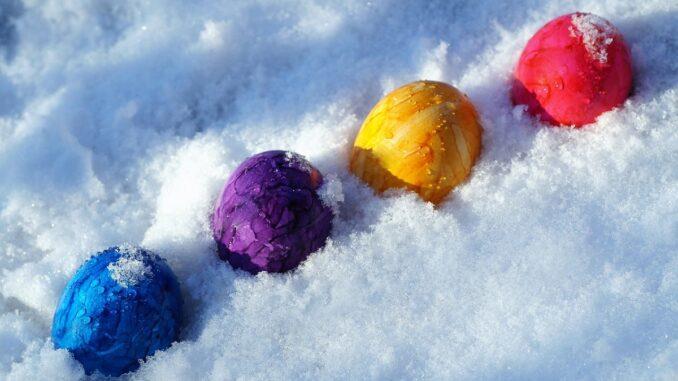 Kraslice ve sněhu.