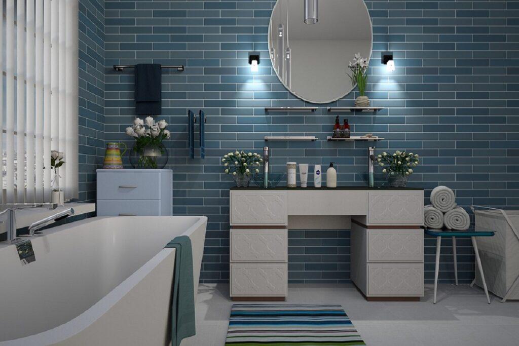 Koupelna v přímořském stylu.