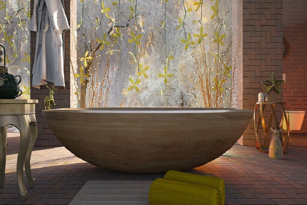 Koupelna ve skandinávském stylu.