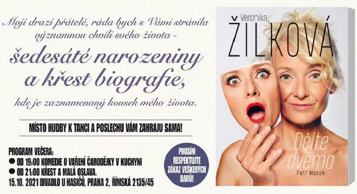 Pozvánka na instagramu paní Veroniky Žilkové na křest knihy Dělte dvěma